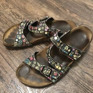 Birkenstock Floral Print Leather Strap Sandals